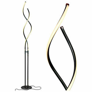 Brightech Embrace LED 2 In 1 Spiral Bright Standing Floor Table Lamp, Jet Black