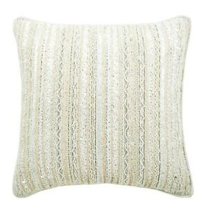 14x14 inch Handmade White Couch Pillowcase, Silk Lace Pearl - All Laced Up