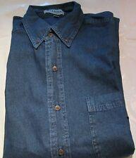 Men'ns Denim Shirt Blue Issue Medium Dark shade long sleeve Pocket 100 Cotton