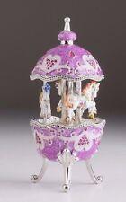 Purple Easter Egg Horse Carousel Trinket Box by Keren Kopal music box w/ crystal
