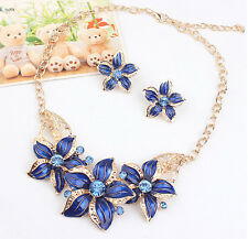 Women's Style Crystal Pearl Plated Pendant Flower Necklace Jewlery Blue Color