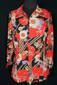 RARE VINTAGE FRENCH 1970'S-1980'S VIVID POLY KNIT BLOUSE SIZE LARGE