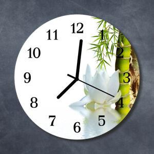 Tulup Reloj de pared de cristal cocina silencioso redondo 30 cm Bambú Naturaleza