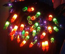 HALLOWEEN STRING LIGHTS Multicolor Black Wire Orange Green Purple NEW