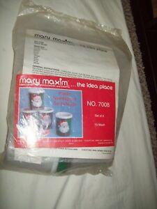 VTG  Mary Maxim Christmas Needlepoint kit NIB #7008 set 4 Santa Mugs  NOS