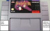 Final Fantasy 3 III FF3, SNES Super Nintendo, Free USA Shipping, Saving Game