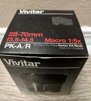 Vivitar Lens 28-70mm Macro f3.5-4.5 Macro 1:5x PM-A/R Pentax GREAT CONDITION