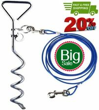 New listing Dog Stake Tie Out Cable And Reflective Stake 16 Ft Outdoor, Yard And Camping,