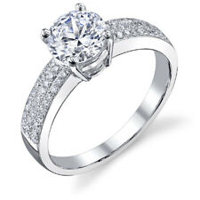 Ring with 7mm Moissanite - #Dc35 18K White Gold Pave Set Diamond Engagement