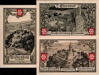 SUPERB 4-NOTE SET! LARGE NOTGELD CURRENCY w FAMOUS GERMAN CASTLE! (LEUTCHENBERG)