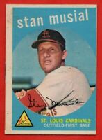 1959 Topps #150 Stan Musial GOOD+ PAPER LOSS MARKED St. Louis Cardinals FREE S/H