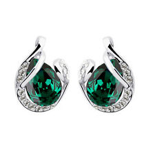 Silver Plated Emerald Crystal Green Tree Leaf Stud Small Women Earrings E850