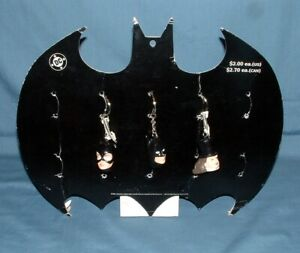 (3) BATMAN KEY RINGS & COUNTER DISPLAY - APPLAUSE - GOOD CONDITION - 1990'S