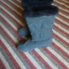 Womens 7W Black Winter Snow Fur Lined Waterproof Marker Boots-Pre-Owned