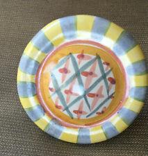 1 MacKenzie Childs Drawer Pull Knob Round Monet 1996 Lattice Blue Yellow White