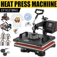 8 In 1 Heat Press Machine Swing Away Digital Sublimation T Shirt Mugplate Hat