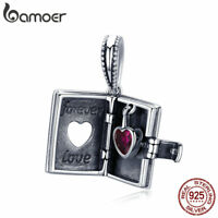 BAMOER Retro .925 Sterling Silver Charm love letter With CZ For bracelet Jewelry