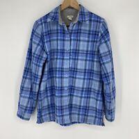 LL Bean Jacket Size XS Womens Blue Fleece Lined Plaid Flannel Shirt Button Front