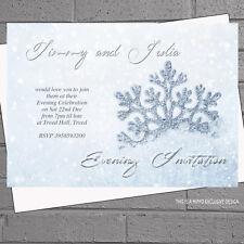 Winter Wedding Evening Day Reception Invitations x12+env Glitter Snowflake H1561