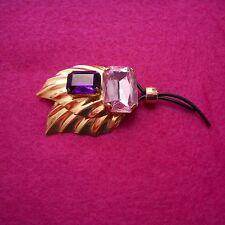 "NEW ""Ermani Bulatti"" Goldplate Leaf Brooch w/Faceted Pink & Purple Plexi Stones"