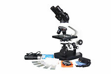 800x Biology Vet Lab Digital Binocular LED Microscope w USB Camera & Slide Kit