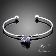 Platinum Plated Made W/Purple Swarovski Austrian Crystal Bangle BraceletB556-30