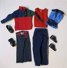 Barbie Ken Cool School Doll Clothes-Red Green Pullover Jeans 2 Outfits Shoes Lot