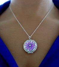 Purple Frozen Glow in the Dark Jewelry Glowing Gift Circle Pendant Necklace