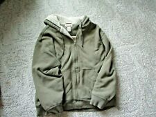 LL Bean Katahdin Iron Works Men's Green Full Zip Sherpa Lined Hoodie Size XL