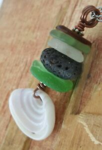 Unique Sea Glass Necklace Unique Green Ocean Beach Hawaii stack Cairn Puka shell
