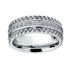 7MM 0.75 Carat F/VS Diamond Multi Designer Men's Ring Crafted in 18k White Gold