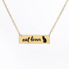 Love Black Cat Lover Charm Bar Chain Animal Pendant Necklace Jewelry Gifts Women