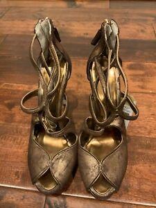 BCBG Max Azria Bronze Strappy Peep Toe Platform Heels, Size 8.5 (US)