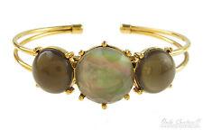 Monet Opalescent Abalone Green Circle Gold-Tone Cuff Bracelet