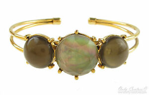 Monet Opalescent Abalone Green Circle Gold-Tone Cuff Bracelet