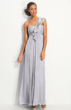 NWT dove  Amsale Ruffled Chiffon One Shoulder Gown size 8