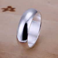 Men's Women's 925 Silver Filled Classic Plain Band Solid Ring Wedding Engagement