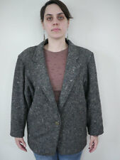 Vintage 80s Benetton Chunky Wool Tweed Blazer Jacket Coat Womens Italy Made 42
