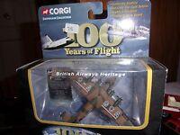 """Corgi """"100 YEARS OF FLIGHT BRITISH AIRWAYS HERITAGE NEUF BOITE"""