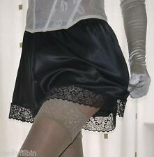 Beautiful silky satin lace black panties french knickers~boxer brief size large