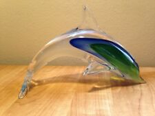 "Large 10""  Dolphin Murano Art Glass Blue and Green Sommerso style"