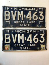 Vintage 1973 Michigan License Plate Matching Set - BVM463