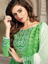 Designer Chanderi Cotton Salwar Kameez Green Color Unstiched Casual Use Material