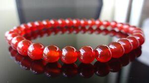 """Genuine Carnelian Stone Bracelet for Men (On Stretch) 6mm beads AAA - 8"""" inch"""