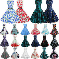 Womens Vintage Retro Swing 50s Belt Housewife Rockabilly Pinup Party Prom Dress