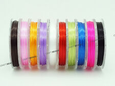 0.8mm Strong Elastic Floss Flat Stretchy Beading Cord Thread Assorted 10 Spools