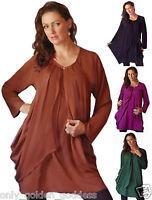 pick color & size top blouse long sleeve a line lagenlook M L XL 1X 2X 3X 4X 5X