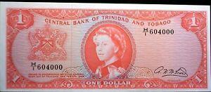 British Trinidad and Tobago 1964 $1.00 Note *Crisp Uncirculated* Serial # 604000