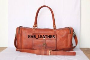 Men Real Vintage Top grade Leather travel duffel weekend bag lightweight luggage