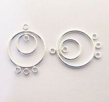 2 Sterling Silver Spiral Twist 13x19mm Earring Link Connectors with 3 Loops